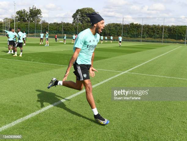Pierre-Emerick Aubameyang of Arsenal during a training session at London Colney on September 17, 2021 in St Albans, England.