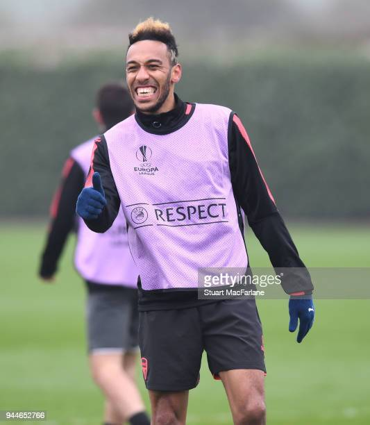 PierreEmerick Aubameyang of Arsenal during a training session at London Colney on April 11 2018 in London England