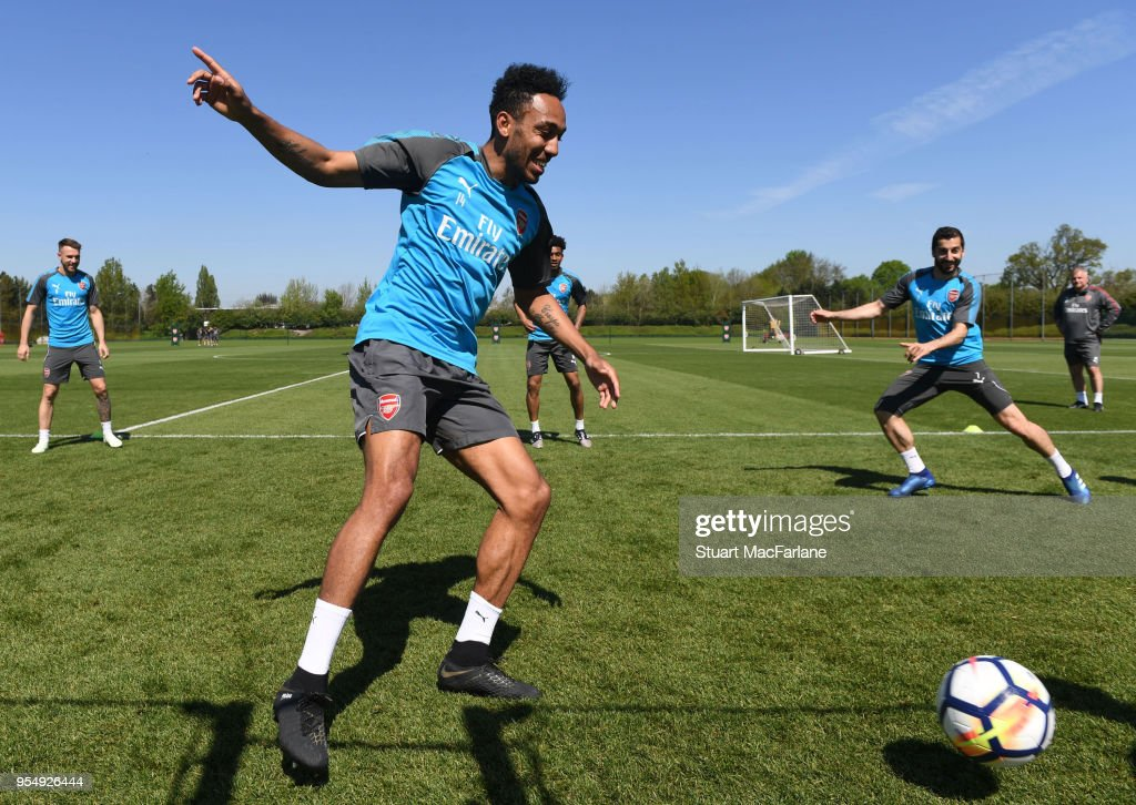 Pierre-Emerick Aubameyang of Arsenal during a training session at London Colney on May 5, 2018 in St Albans, England.