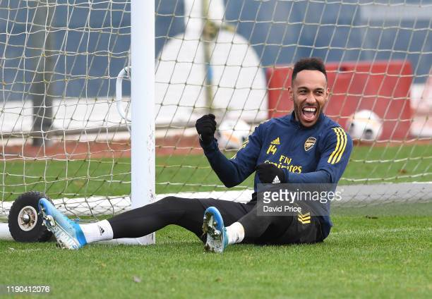 Pierre-Emerick Aubameyang of Arsenal during Arsenal Training Session at London Colney on November 27, 2019 in St Albans, England.