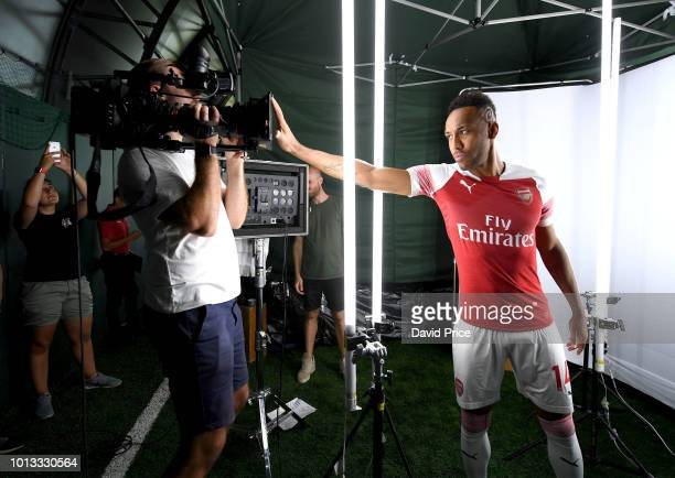 PierreEmerick Aubameyang of Arsenal during the Arsenal 1st team photocall at London Colney on August 8 2018 in St Albans England