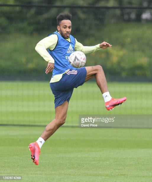 Pierre-Emerick Aubameyang of Arsenal during the Arsenal 1st team training session at London Colney on June 27, 2020 in St Albans, England.