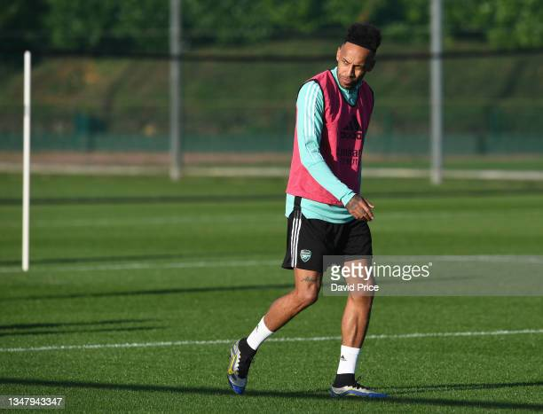Pierre-Emerick Aubameyang of Arsenal during the Arsenal 1st team training session at London Colney on October 21, 2021 in St Albans, England.