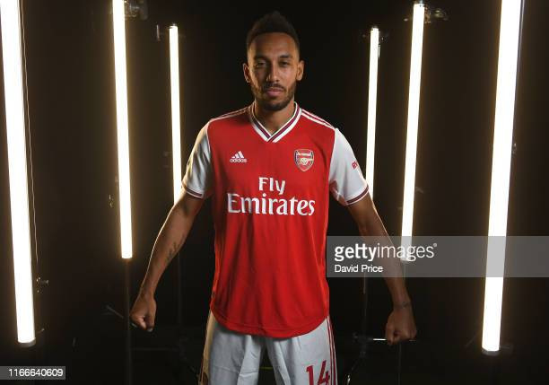 Pierre-Emerick Aubameyang of Arsenal during the Arsenal Media Day at London Colney on August 07, 2019 in St Albans, England.