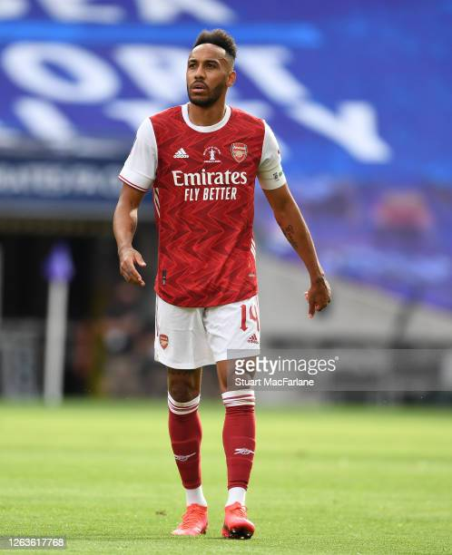 PierreEmerick Aubameyang of Arsenal during the FA Cup Final match between Arsenal and Chelsea at Wembley Stadium on August 01 2020 in London England...