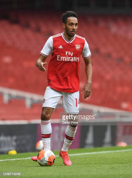 PierreEmerick Aubameyang of Arsenal during the friendly match between Arsenal and Brentford at Emirates Stadium on June 10 2020 in London England