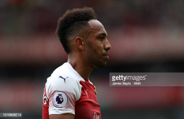 PierreEmerick Aubameyang of Arsenal during the Premier League match between Arsenal FC and Manchester City at Emirates Stadium on August 12 2018 in...