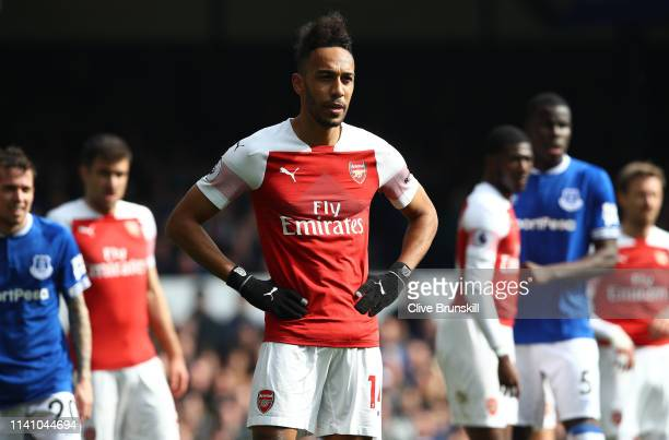 PierreEmerick Aubameyang of Arsenal during the Premier League match between Everton FC and Arsenal FC at Goodison Park on April 07 2019 in Liverpool...