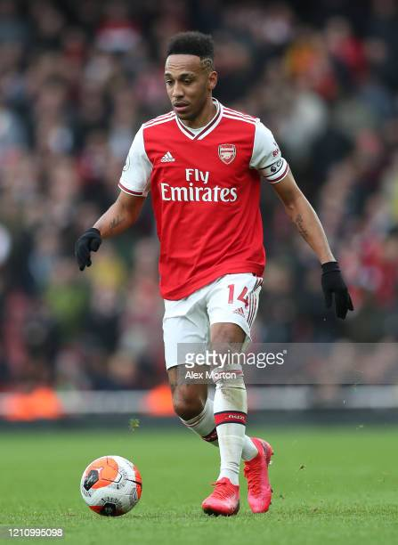 PierreEmerick Aubameyang of Arsenal during the Premier League match between Arsenal FC and West Ham United at Emirates Stadium on March 07 2020 in...
