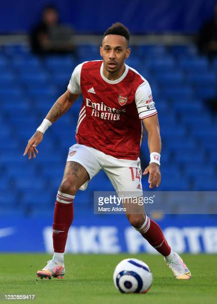 Pierre-Emerick Aubameyang of Arsenal during the Premier League match between Chelsea and Arsenal at Stamford Bridge on May 12, 2021 in London, United...