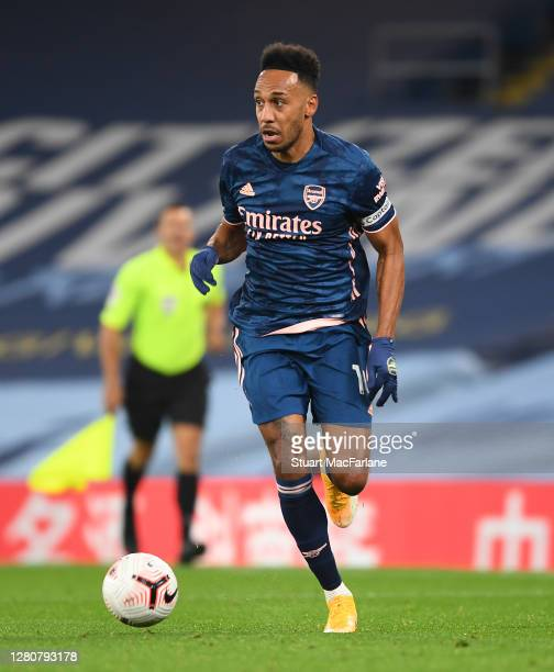 PierreEmerick Aubameyang of Arsenal during the Premier League match between Manchester City and Arsenal at Etihad Stadium on October 17 2020 in...