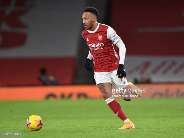 Pierre-Emerick Aubameyang of Arsenal during the Premier League match between Arsenal and Newcastle United at Emirates Stadium on January 18, 2021 in...