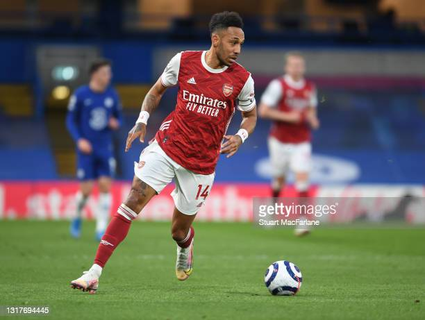 Pierre-Emerick Aubameyang of Arsenal during the Premier League match between Chelsea and Arsenal at Stamford Bridge on May 12, 2021 in London,...