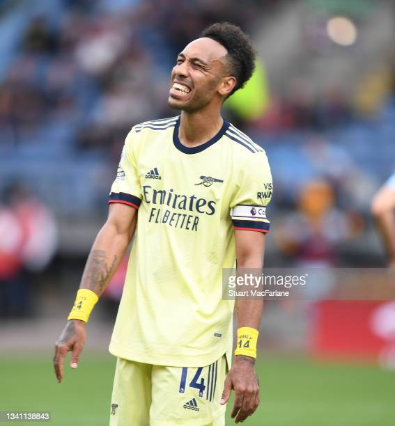 Pierre-Emerick Aubameyang of Arsenal during the Premier League match between Burnley and Arsenal at Turf Moor on September 18, 2021 in Burnley,...