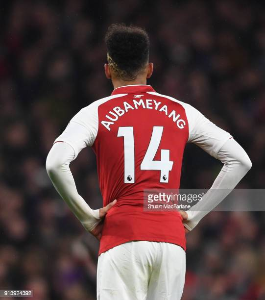 PierreEmerick Aubameyang of Arsenal during the Premier League match between Arsenal and Everton at Emirates Stadium on February 3 2018 in London...