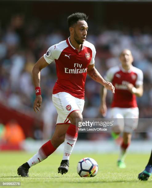 PierreEmerick Aubameyang of Arsenal during the Premier League match between Arsenal and West Ham United at Emirates Stadium on April 22 2018 in...