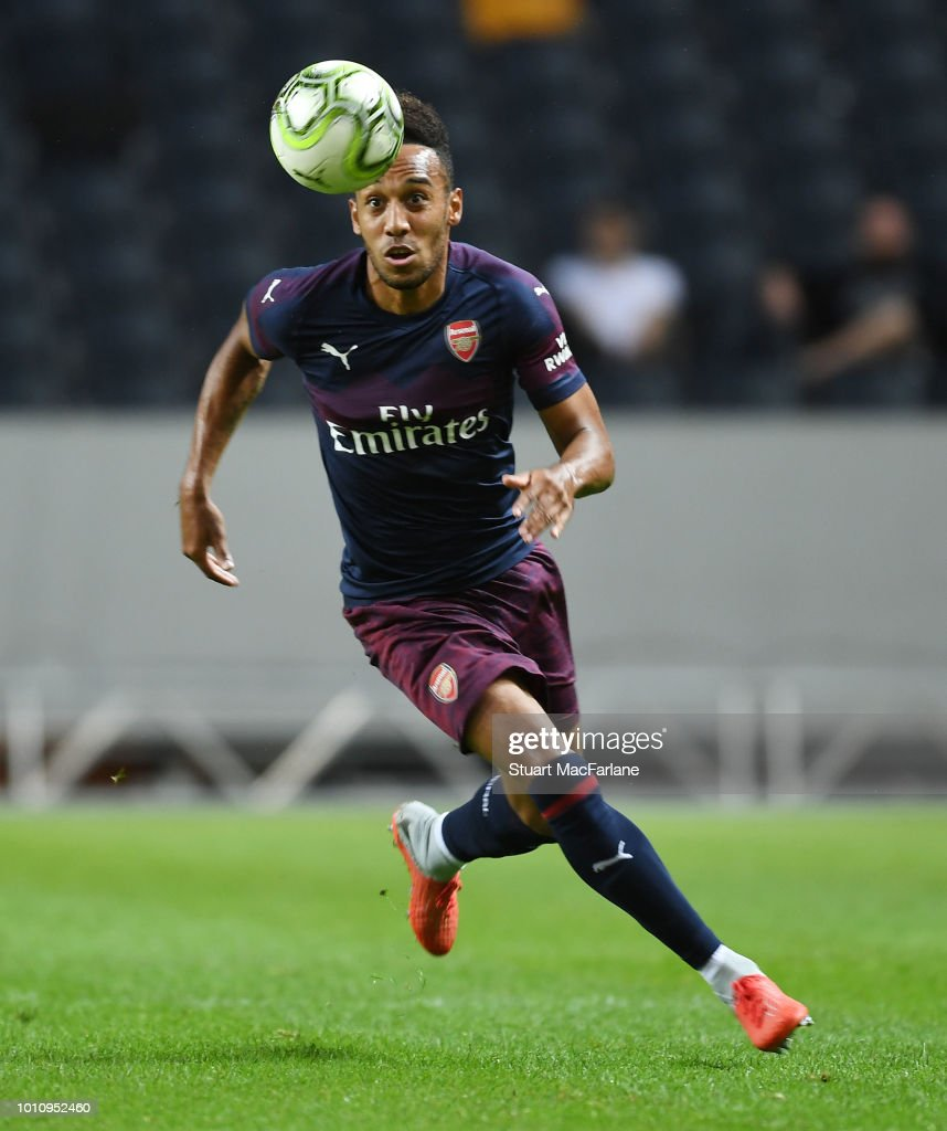 Pierre-Emerick Aubameyang of Arsenal during the Pre-season friendly between Arsenal and SS Lazio on August 4, 2018 in Stockholm, Sweden.