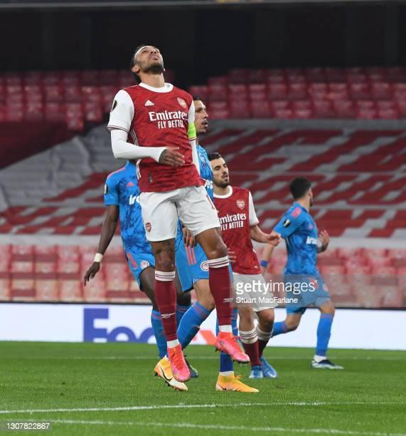 Pierre-Emerick Aubameyang of Arsenal during the UEFA Europa League Round of 16 Second Leg match between Arsenal and Olympiacos at Emirates Stadium on...