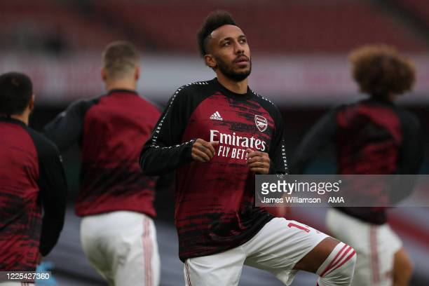PierreEmerick Aubameyang of Arsenal during the warm up before Premier League match between Arsenal FC and Leicester City at Emirates Stadium on July...