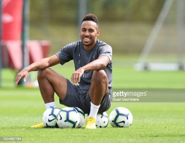 PierreEmerick Aubameyang of Arsenal durng a training session at London Colney on August 29 2018 in St Albans England