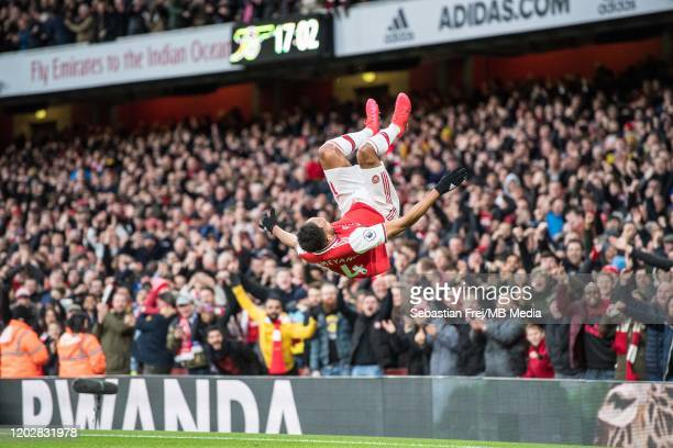 PierreEmerick Aubameyang of Arsenal FC celebrate after scoring hes 1st and hes team 2nd goal during the Premier League match between Arsenal FC and...