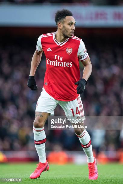 PierreEmerick Aubameyang of Arsenal FC in action during the Premier League match between Arsenal FC and Everton FC at Emirates Stadium on February 23...