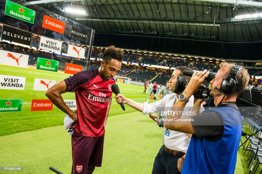 Pierre-Emerick Aubameyang of Arsenal FC interviewed after the Pre-season friendly between Arsenal and SS Lazio at Friends Arena on August 4, 2018 in Stockholm, Sweden.