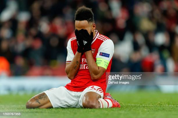 Pierre-Emerick Aubameyang of Arsenal FC looks dejected after the UEFA Europa League round of 32 second leg match between Arsenal FC and Olympiacos FC...