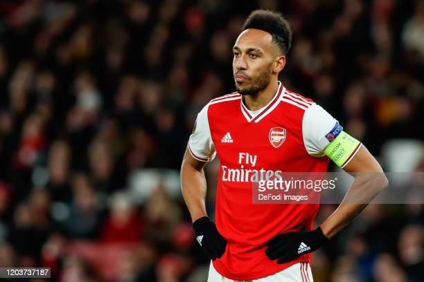 Pierre-Emerick Aubameyang of Arsenal FC looks on during the UEFA Europa League round of 32 second leg match between Arsenal FC and Olympiacos FC at...