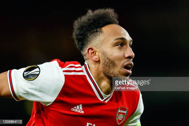 PierreEmerick Aubameyang of Arsenal FC looks on during the UEFA Europa League round of 32 second leg match between Arsenal FC and Olympiacos FC at...