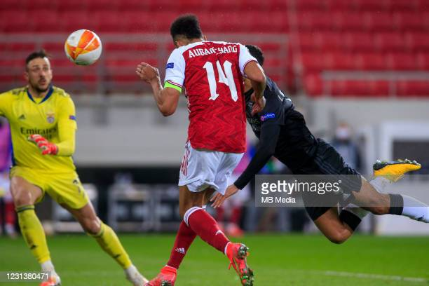 Pierre-Emerick Aubameyang of Arsenal FC scores the third goal of his team during the UEFA Europa League Round of 32 match between Arsenal FC and SL...