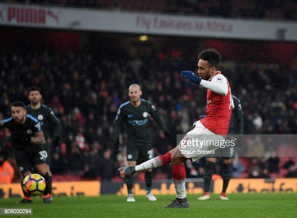 PierreEmerick Aubameyang of Arsenal has his penalty saved during the Premier League match between Arsenal and Manchester City at Emirates Stadium on...