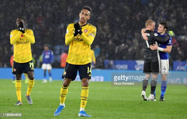 Pierre-Emerick Aubameyang of Arsenal in action after the Premier League match between Leicester City and Arsenal FC at The King Power Stadium on...