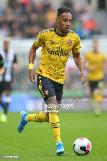 PierreEmerick Aubameyang of Arsenal in action during the Premier League match between Newcastle United and Arsenal FC at St James Park on August 11...