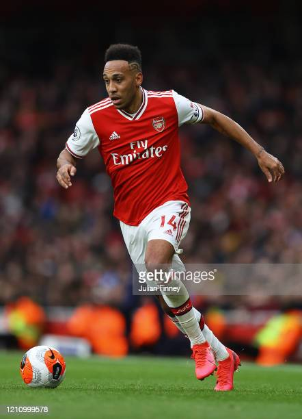 PierreEmerick Aubameyang of Arsenal in action during the Premier League match between Arsenal FC and West Ham United at Emirates Stadium on March 07...