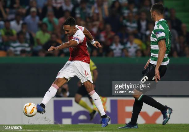 PierreEmerick Aubameyang of Arsenal in action during the UEFA Europa League Group E match between Sporting CP and Arsenal at Estadio Jose Alvalade on...