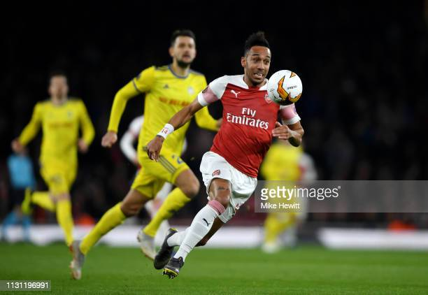 PierreEmerick Aubameyang of Arsenal in action during the UEFA Europa League Round of 32 Second Leg match between Arsenal and BATE Borisov at Emirates...