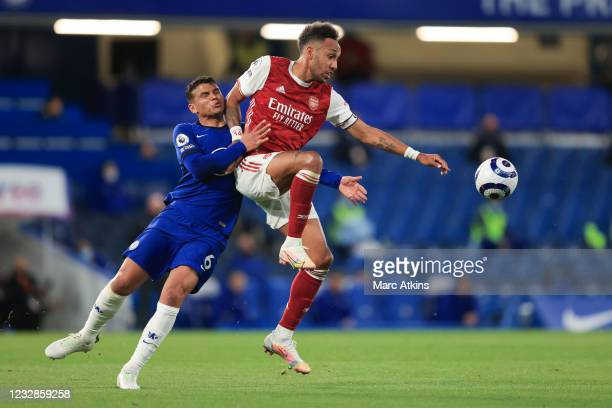 Pierre-Emerick Aubameyang of Arsenal in action with Thiago Silva of Chelsea during the Premier League match between Chelsea and Arsenal at Stamford...