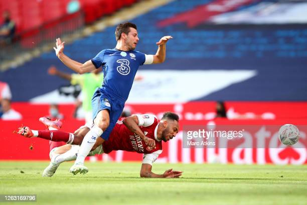 Pierre-Emerick Aubameyang of Arsenal is fouled by Cesar Azpilicueta of Chelsea leading to Arsenal being awarded a penalty during the FA Cup Final...