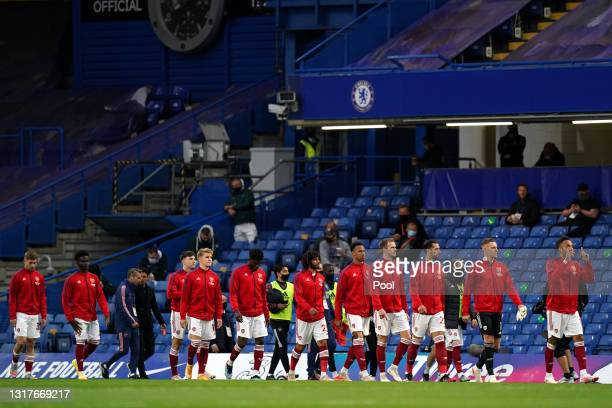 Pierre-Emerick Aubameyang of Arsenal leads his side out prior to the Premier League match between Chelsea and Arsenal at Stamford Bridge on May 12,...