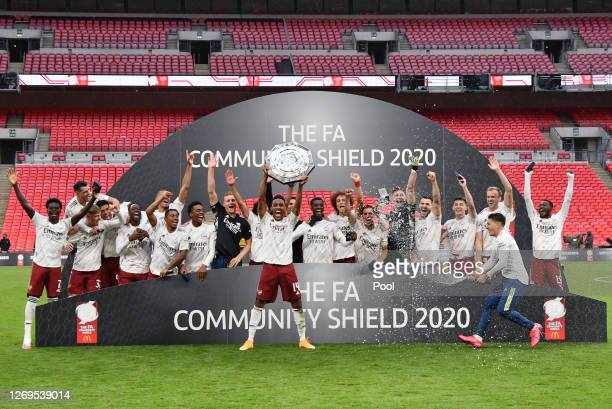 Pierre-Emerick Aubameyang of Arsenal lifts the Community Shield Trophy following his team's victory in during the FA Community Shield final between...