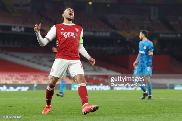 Pierre-Emerick Aubameyang of Arsenal looks dejected after missing a chance during the UEFA Europa League Round of 16 Second Leg match between Arsenal...