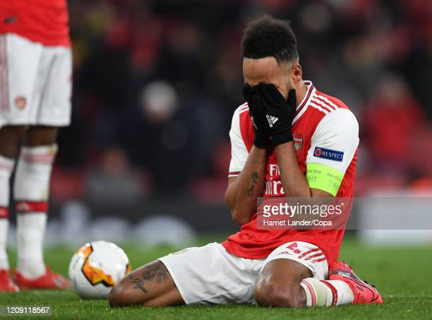 Pierre-Emerick Aubameyang of Arsenal looks dejected during the UEFA Europa League round of 32 second leg match between Arsenal FC and Olympiacos FC...