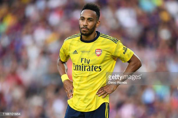 PierreEmerick Aubameyang of Arsenal looks on during the Joan Gamper trophy friendly match between FC Barcelona and Arsenal at Nou Camp on August 04...