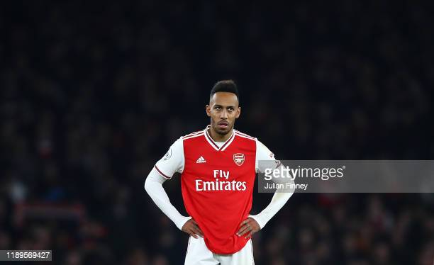 PierreEmerick Aubameyang of Arsenal looks on during the Premier League match between Arsenal FC and Southampton FC at Emirates Stadium on November 23...