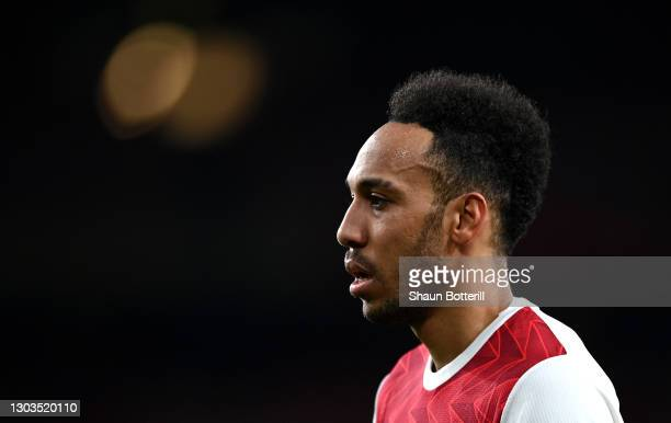 Pierre-Emerick Aubameyang of Arsenal looks on during the Premier League match between Arsenal and Manchester City at Emirates Stadium on February 21,...