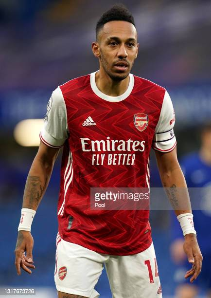 Pierre-Emerick Aubameyang of Arsenal looks on during the Premier League match between Chelsea and Arsenal at Stamford Bridge on May 12, 2021 in...