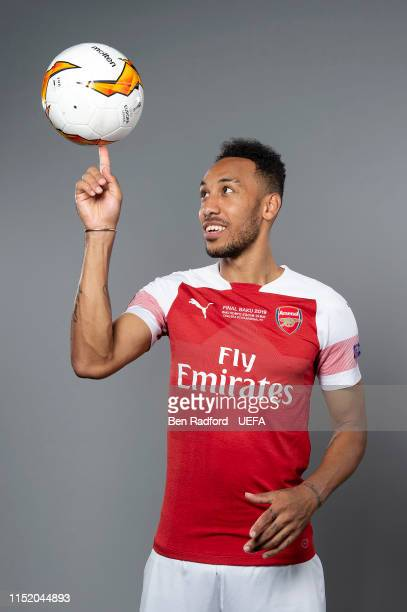 Pierre-Emerick Aubameyang of Arsenal poses for a photo during the Arsenal Europa League Final Media Day at London Colney on May 21, 2019 in St...