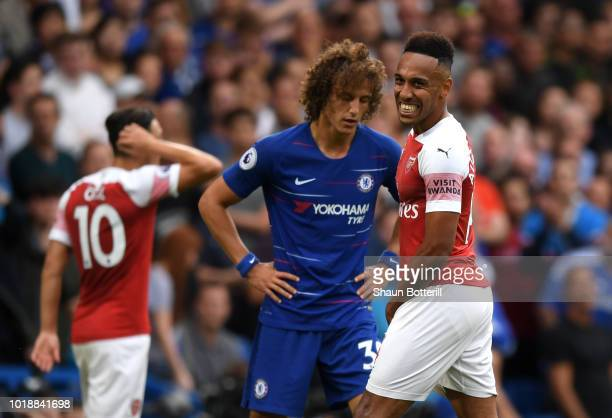 PierreEmerick Aubameyang of Arsenal reacts during the Premier League match between Chelsea FC and Arsenal FC at Stamford Bridge on August 18 2018 in...
