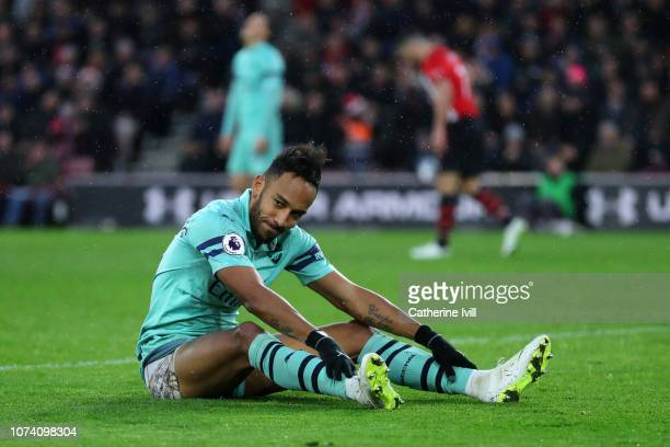PierreEmerick Aubameyang of Arsenal reacts during the Premier League match between Southampton FC and Arsenal FC at St Mary's Stadium on December 16...